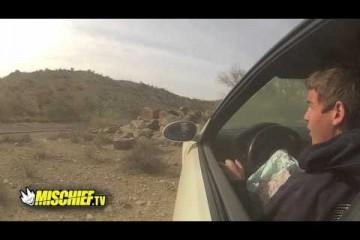 Video: Kid crashes BMW into rocks
