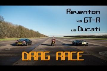 Video: Drag Race – Reventon vs GT-R vs Ducati
