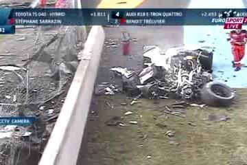 24h-Rennen Le Mans 2014: Loic Duval verunfallt mit Audi R18 E-Tron schwer