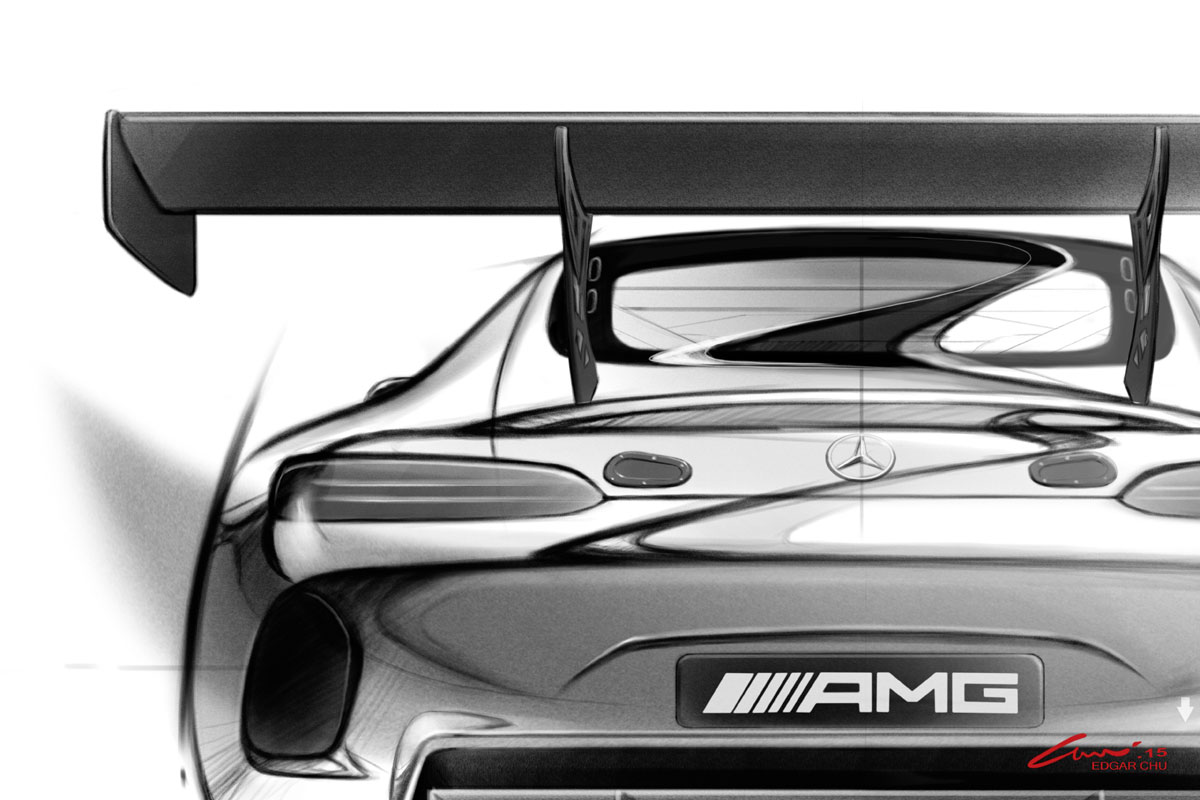 Mercedes AMG GT GT3 Skizzen 2015