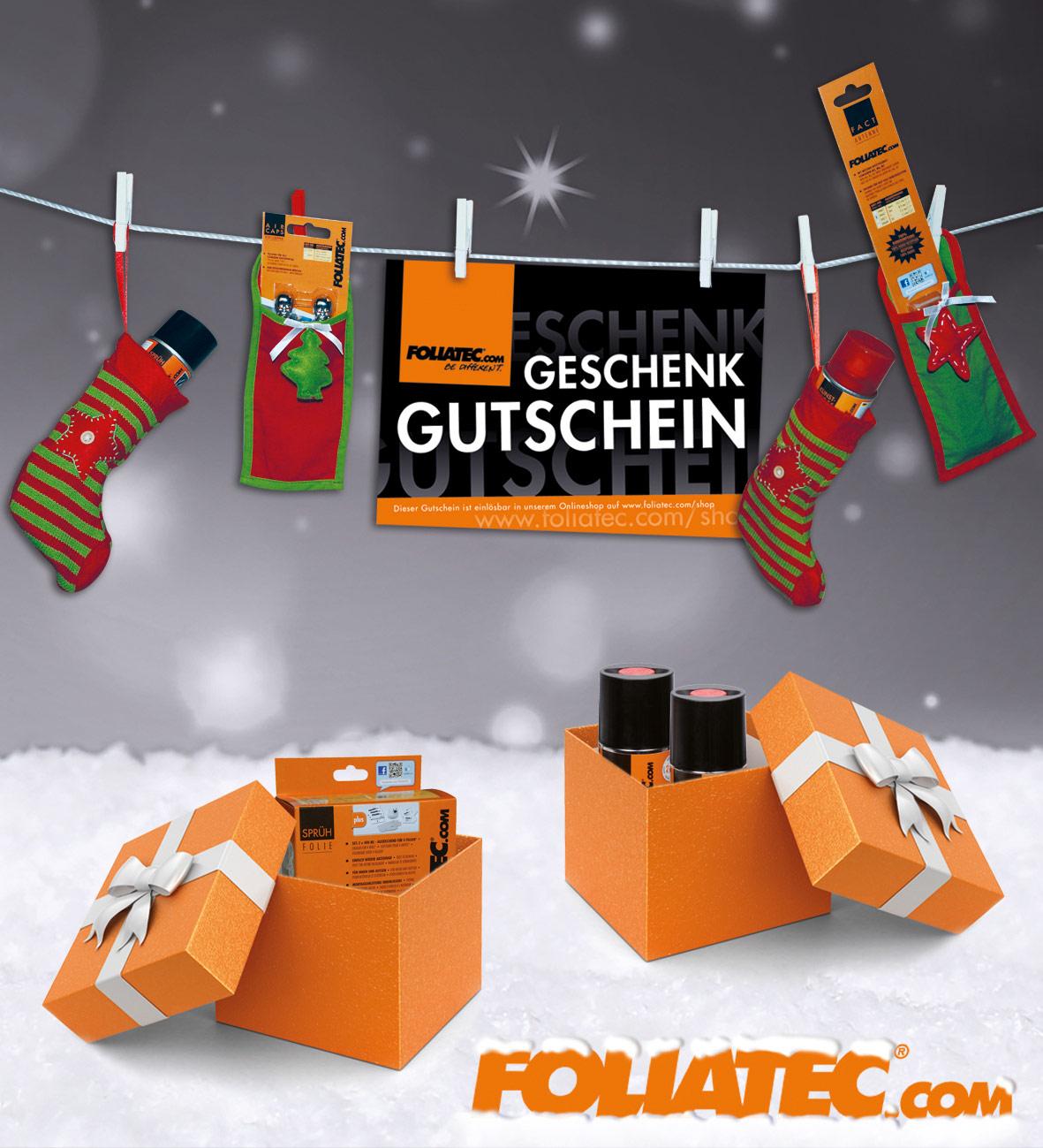 weihnachtsgeschenk f r autoverr ckte gutscheine von foliatec. Black Bedroom Furniture Sets. Home Design Ideas