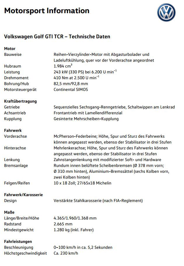 VW Golf GTI TCR technische Daten