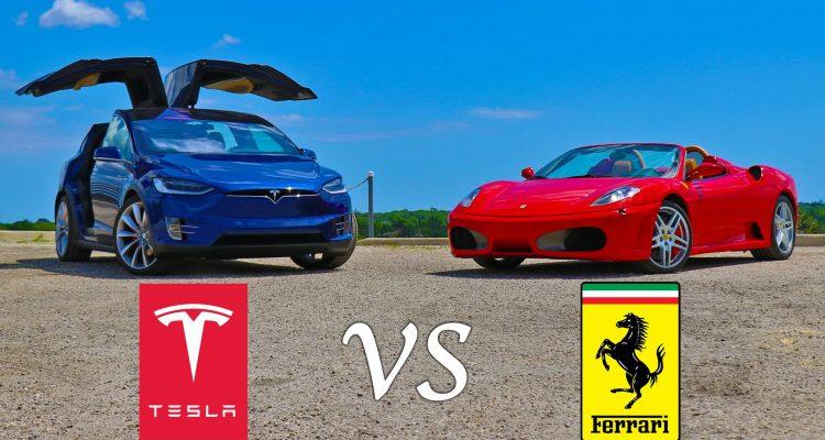 Tesla Model X vs. Ferrari F430 Spider