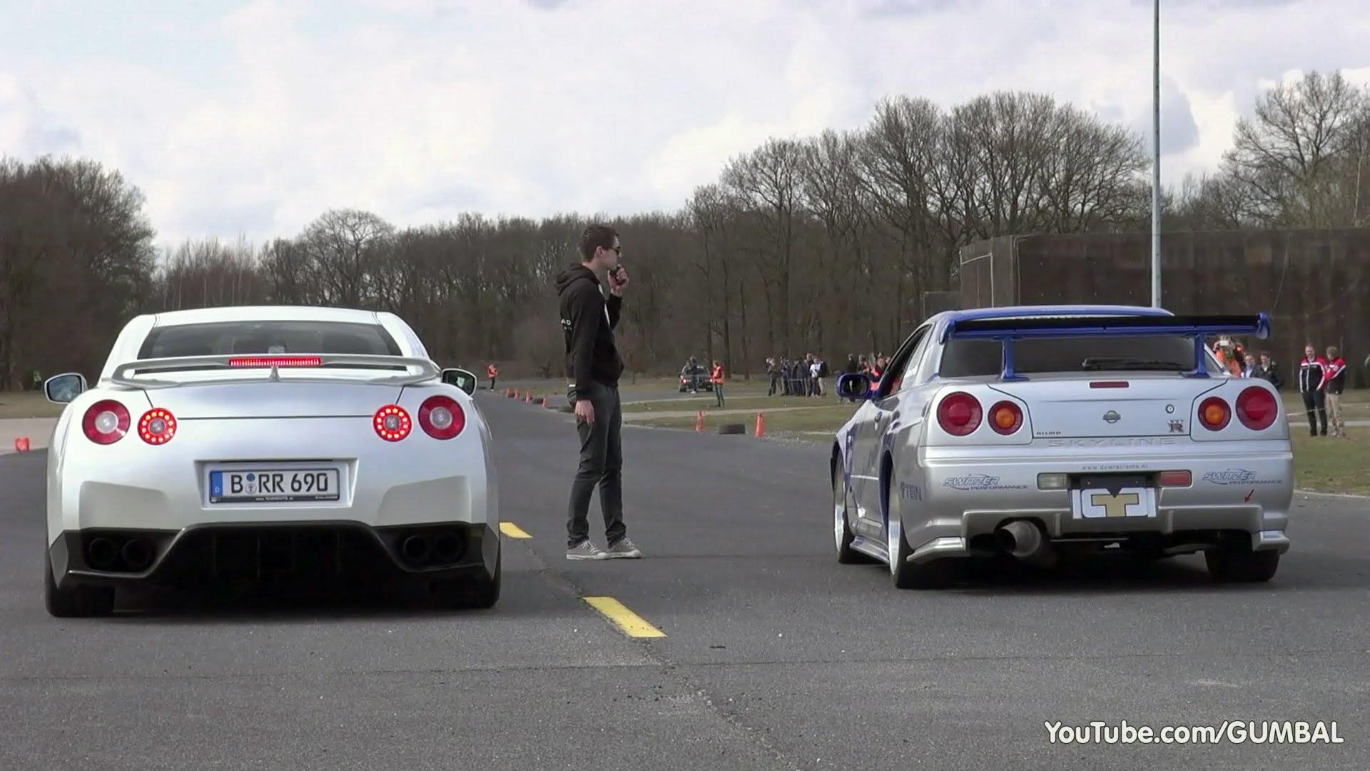 video nissan skyline gtr r34 vs aventador und co