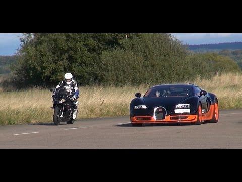 Video: BMW S1000RR vs Bugatti Veyron Vitesse (rollender Start)